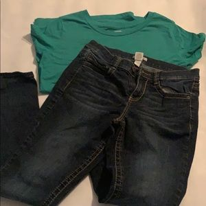 Mossimo xl top & Mudd 11 skinny jeans !